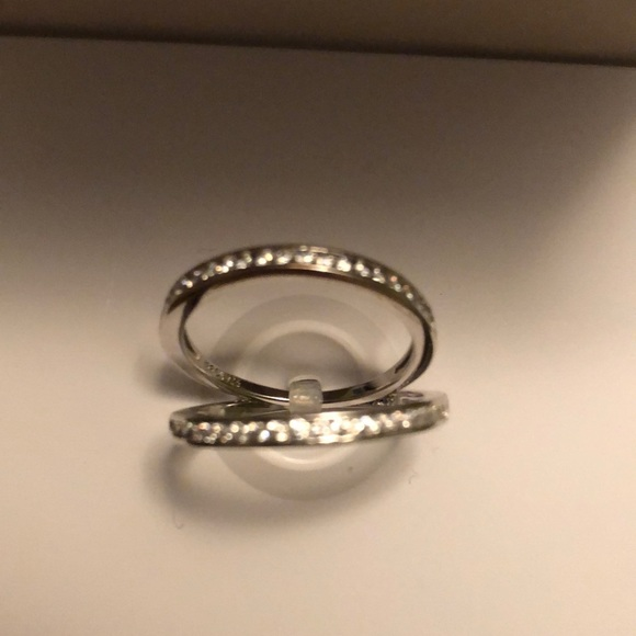2 band set Sterling silver rings w cubic zirconia